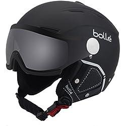 Bolle - Visera de Fondo con 1 Visera fotocromática Plateada, Casco de esquí, Suave Negro/Blanco, 56 – 58 cm