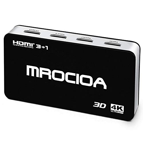MROCIOA Hdmi Switch, Premium 3 Port High Speed 4K 3D Hdmi Switcher Box IR Wireless Remote, Supports PS4/ Xbox One/Fire TV/Apple TV/HDTV (Best Hdmi Switch For Apple Tv)