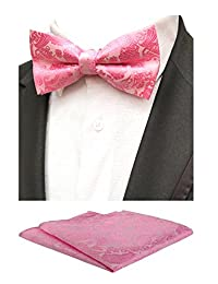 MOHSLEE Mens Pink Paisley Pre-Tied Bowtie Wedding Self Bow Tie Pocket Square Set