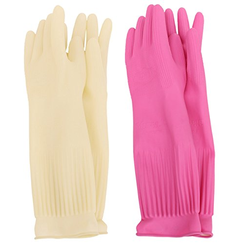 MJ 2 Pairs Household Red Clay Charcoal Rubber Latex Cleaning Wash Gloves XL -