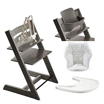 Amazon.com: Stokke silla alta, brumosa gris Bundle con Mini ...