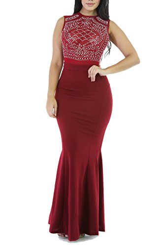 Cheap Masquerade Dresses (CoCo Fashion Women's Long Fitted Beading Sleeveless Mermaid Evening Gown Dress)