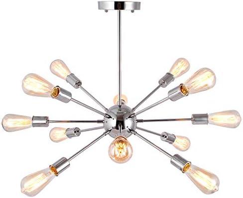 T A 12 Lights Sputnik Chandelier Modern Pendant Lighting Industrial Vintage Ceiling Light Fixture for Kitchen Living Room Dining Room