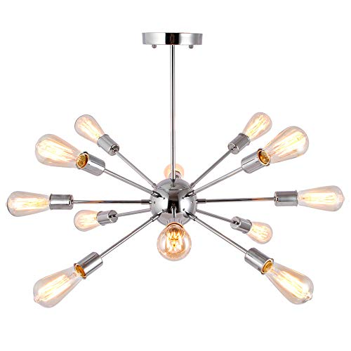 T&A 12 Lights Modern Metal Sputnik Chandelier,Mid Century Ceiling Light Fixture Industrial Style Pendant Lighting for Kitchen Living Room Dining Room(Chrome) ()