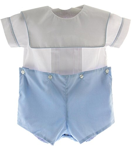 Suit Bobby (Rosalina Baby Baby Boys Blue White Bobby Suit Square Bib Collar Monogam (24M))