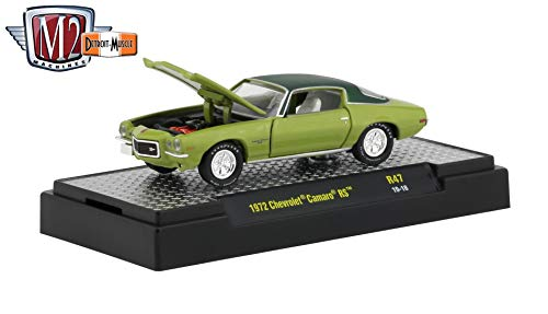 M2 Machines 1972 Chevrolet Camaro RS (Gulf Green Metallic) - Detroit Muscle Release 47 Castline 2019 Premium Edition 1:64 Scale Die-Cast Vehicle & Custom Display Base (R47 19-18)