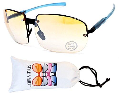 E3043-vp Style Vault Rimless Oversized Sunglasses (B3097F Black/Blue-Orange, - Sunglasses Rimless Rectangle
