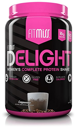 FitMiss Delight Protein Powder, Healthy Nutritional Shake for Women, Whey Protein, Fruits, Vegetables and Digestive Enzymes, Support Weight Loss and Lean Muscle Mass, Cappuccino, -