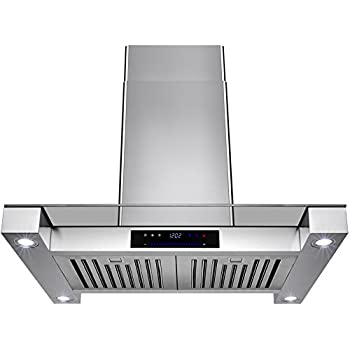 """Golden Vantage 30"""" Stainless Steel Island Mount Range Hood With Touch Screen Display Light Lamp Baffle Filter"""