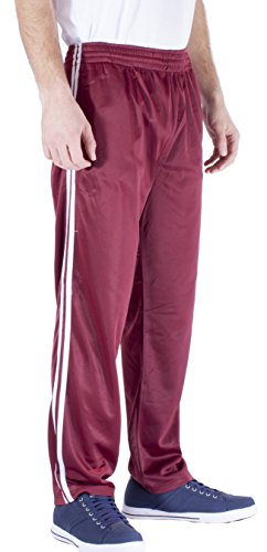 - Vertiacl Sport Men's Open Bottom Light Weight Track Pants JP12 (3Xlarge Burgundy)