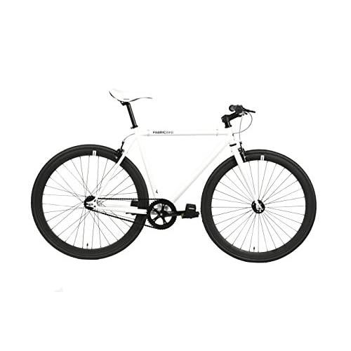 FabricBike- Vélo Fixie Blanc, Fixed Gear, Single Speed, Cadre Hi-Ten Acier, 10Kg