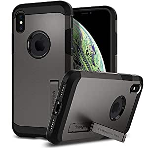 Spigen [Tough Armor] iPhone X Case with Kickstand and Extreme Heavy Duty Protection and Air Cushion Technology for Apple iPhone X (2017) - Gunmetal