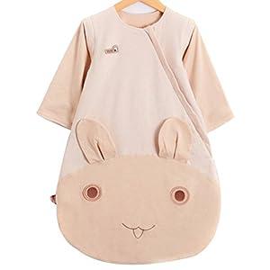 OuYun Baby Organic Sleeping Bag Detachable Sleeve Wearable Blanket, Double Layer(68-77℉)