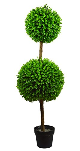 Antigreen Double Ball-shaped Boxwood Topiary Artificial Tree Indoor/Outdoor Faux Boxwood Trees 2 Tone Green 4' Tall with Plastic Pot - Boxwood Double Ball