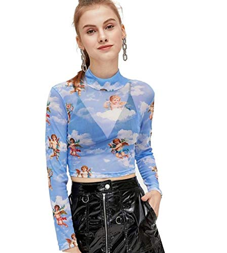 SweatyRocks Women's Long Sleeve Mock Neck Angel Print Sexy Sheer Mesh Crop Top Blue L