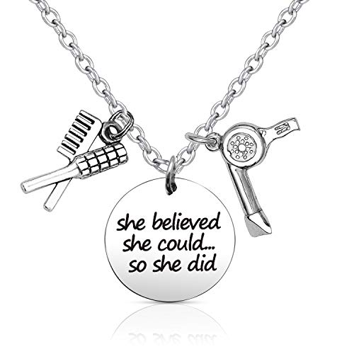 EIGSO Hairdresser Gift Hair Stylist Necklace Jewelry She Believed She Could So She Did Graduation Birthday Gifts for Her