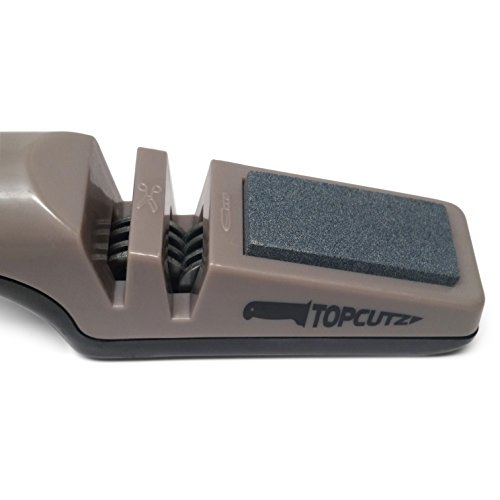 Top Cutz Knife Sharpener, 3 in 1 Sharpening Tool, Best New Design, Includes 8 Honing Wheels for a Sharp Edge, Built in Coarse Sharpening Stone to Repair Damaged Blades, Special Slot for Scissors