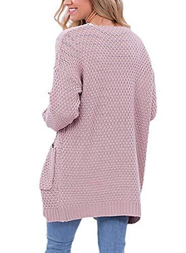 Tempo Moda Manica Confortevole Lunga Autunno Anteriori Pink Giacca Maglia Maglioni Donna Giovane A Casual Tasche Lunghi Cardigan Libero Elegante Monocromo Cappotto qEazwfvfT