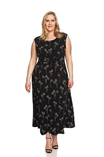 CHAUS NEW YORK Plus Size Womens Black and White Floral Print Midi Length Dress with Twist Waist Detail. (Rich Black) … (060-Rich Black, 1XL)