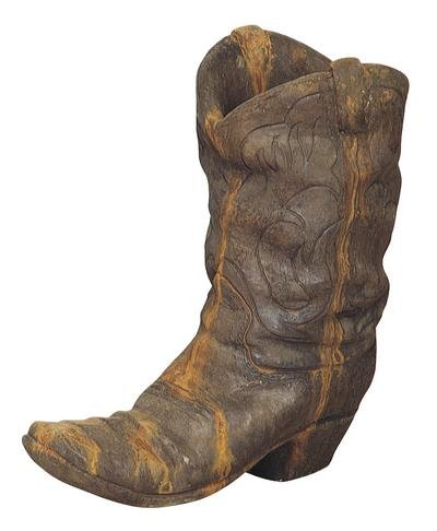 Solid Rock Stoneworks Western Cowboy Boot Planter 21in Tall Rust Color by Solid Rock Stoneworks
