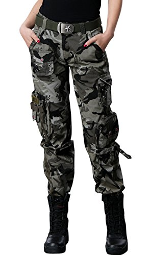 Chouyatou Women's Active Loose Fit Military Multi-Pockets Wild Cargo Pants (Small, - Camouflage Cargo Pants