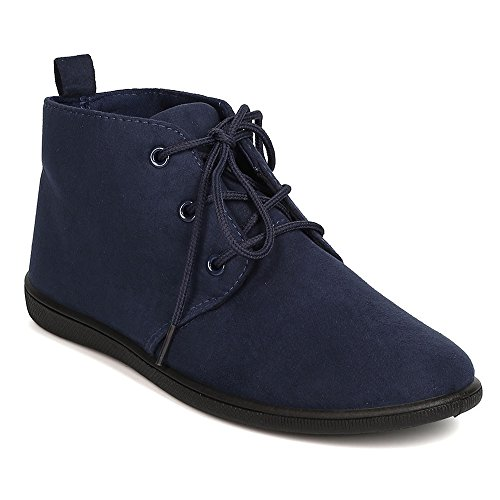 Oxford Ankle Bootie - Women's Lace Up Flat Booties Slip on Ankle Boots Soft Casual Desert Oxford Navy 10