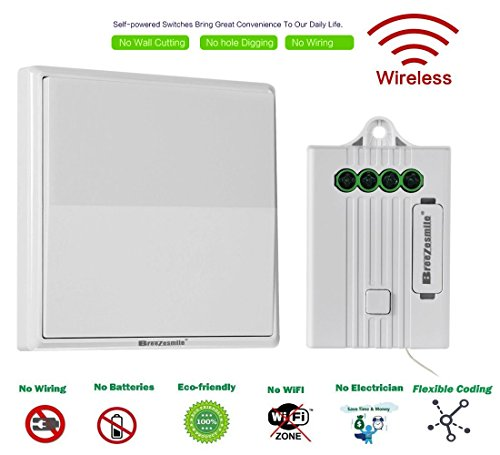 Breezesmile-Wireless-Switch-Kit-No-Wiring-No-Wi-Fi-Battery-free-Self-powered-Switch-with-Receiver-Remote-Control-House-LightingCeiling-Lamp-Appliances-Easy-DIYSwitchReceiver-Included