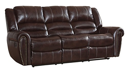 Leather Saddle Reclining - Homelegance Center Hill 90