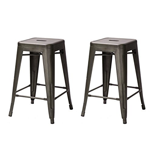 High Backless Distressed Metal Indoor Outdoor Counter Stool Barstools Chair, Set of 2 (Antique Walnut 24 Inch Saddle Stool)