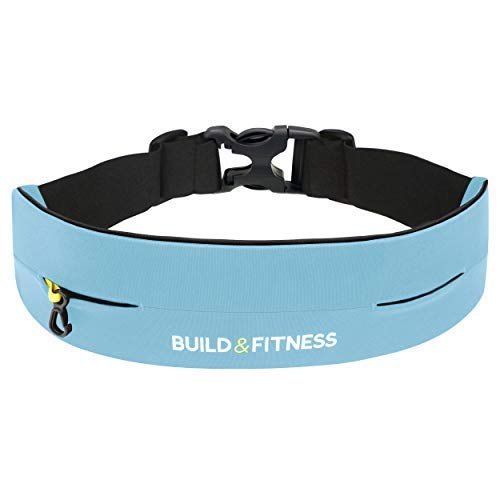 Build & Fitness Running Belt Waist Adjustable, Comfortable Slim with Key Clip - Fits Fuel Gel, iPhone 6,7,8plus,X, Samsung S7,S8,S9 - for Men, Women, Runners, Jogging, Gym, Yoga, Workout, Sports by Build & Fitness (Image #1)