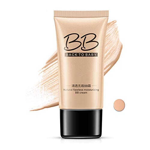 WYKsoku 40g BB Cream Liquid Foundation Whitening Moisture Concealer, Boost Radiance, Cover Pores Mole Blemish, Long Lasting, Face Oil Control Protects Skin From UV Violations Natural Color