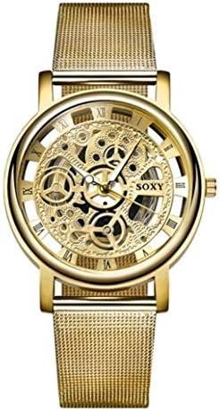Honeycomb Soltero SOXY Personalidad de la Moda de Negocios Reloj Esqueleto Hombres Grabado Hueco Reloj de Pulsera de Cuarzo Reloj de Banda de Acero Inoxidable precisión (Color: : Oro)