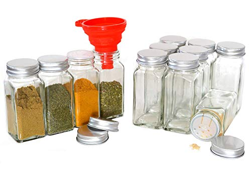 Square Glass Spice - Clear Glass Spice Jars, 4 Oz Square with Silicon Funnel - Case of 12