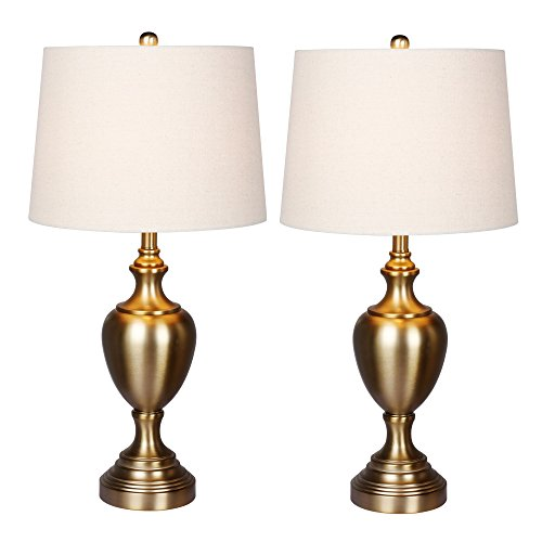 -2PK Urn with Pedestal Base Metal Table Lamps, 30
