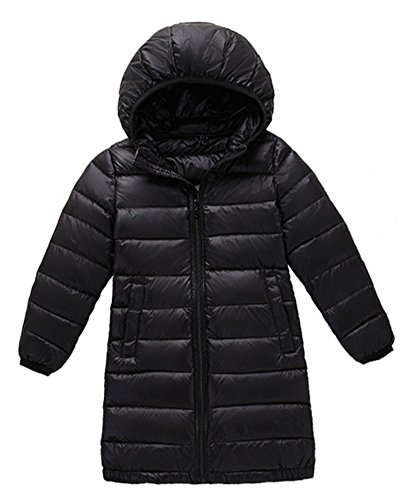 Anyu Girls Long Hooded Down Jacket Lightweight Coat Outwear Black
