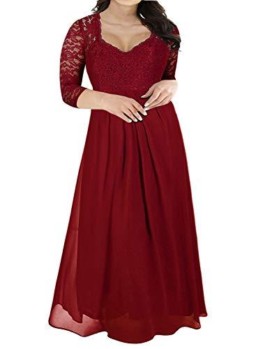 Nemidor Women's Deep- V Neck 3/4 Sleeve Vintage Plus Size Bridesmaid Formal Maxi Dress (16W, Wine+Sleeve)