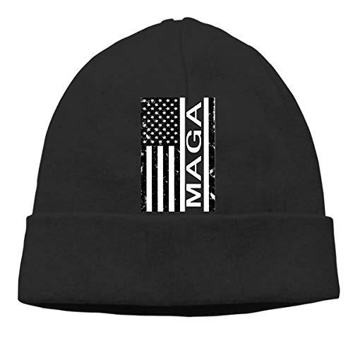 (Vintage American Flag MAGA Beanie Hat Cute Toboggan Hat Winter Hats Skull Cap Beanies for Men and Women Black)
