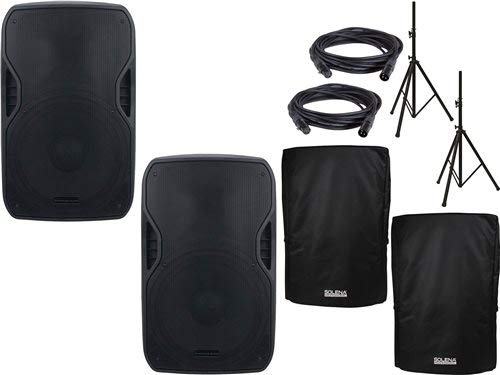 American Audio ELS-GO 15BT Powered Pro Audio Speaker Pair w/Stands & Covers