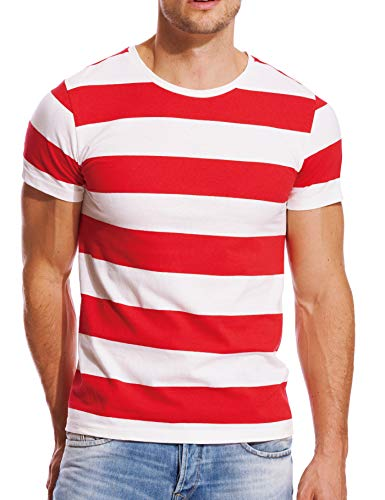 Striped T Shirt for Men Wide Stripe Crew Neck Tee Slim Fit Cotton Red White S