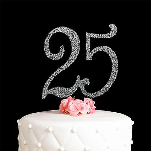 Hatcher lee 25 Cake Topper 25 Years Birthday 25TH Wedding Anniversary Silver Crystal Rhinestone Party Decoration (Silver) -