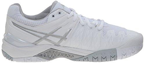 Zapato de tenis Gel Resolution 6 femenino, blanco / plateado, 10.5 W EE. UU.