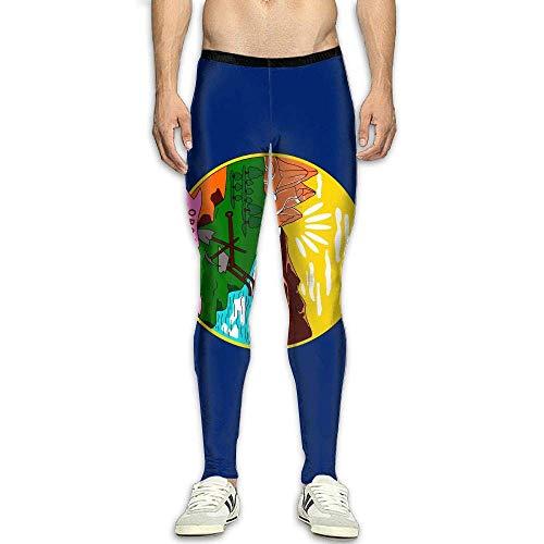 Montana Flag Men's Compression Pants Baselayer Running Tights 3D Print Fitness Sports Leggings -