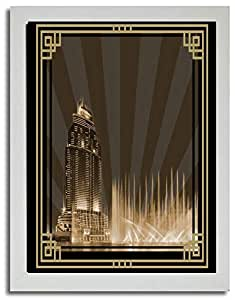 Address Hotel Down Town- Sepia With Gold Border No Text F03-nm (a5) - Framed