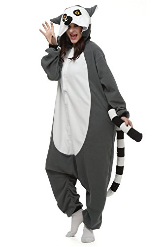 Cousinpjs Animal Onesie Adult Cosplay Costume Onepiece Sleepwear Halloween Pajamas (XL, Grey -