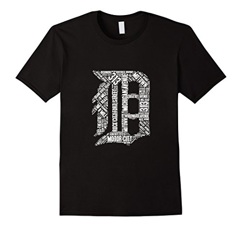 Mens Detroit T Shirt Graphic D 3XL Black
