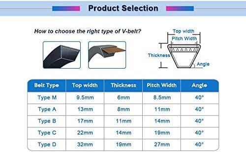 Size : M34 WNJ-TOOL 1pc V-Belt M Type Black Rubber Drive V Belt Closed Loop M27//28//29//30//31//32//33//34//35 Black Rubber Transmission Drive Belt Replacement