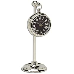 Uttermost Pocket Watch Nickel Marchant Black Wall Clock