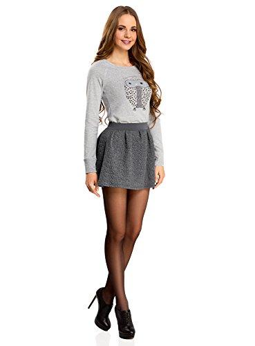 oodji Ultra Mujer Falda de Tejido Texturizado con Cinturón Elástico Gris (2500M)