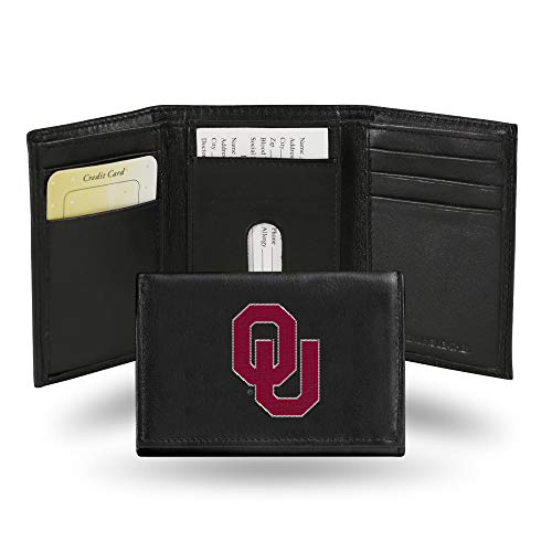 Rico Industries NCAA Oklahoma Sooners Embroidered Leather Trifold Wallet