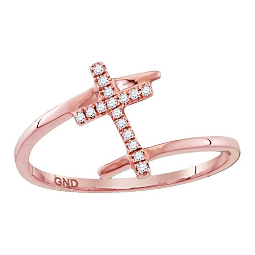 10kt Rose Gold Womens Round Diamond Bisected Cross Religious Ring 1/12 Cttw